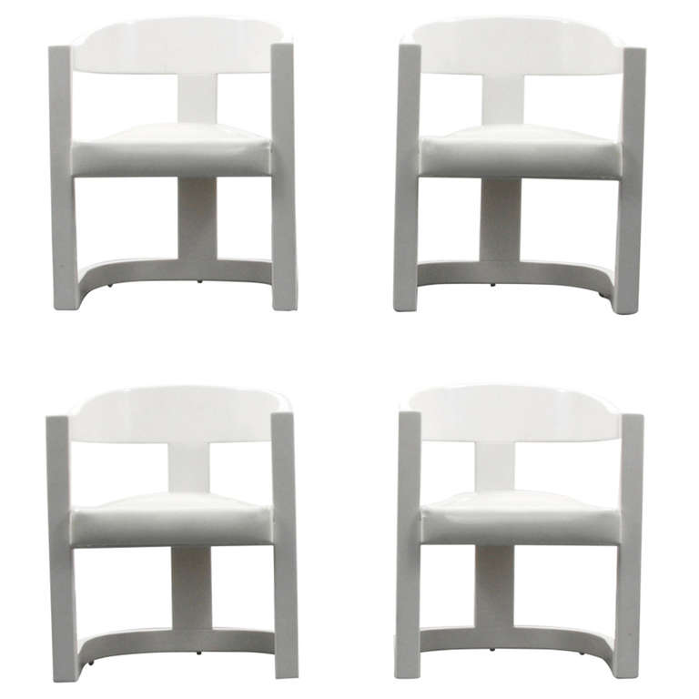 Karl Springer Onassis Armchairs Dining Chairs Set Of Four Circa 1980