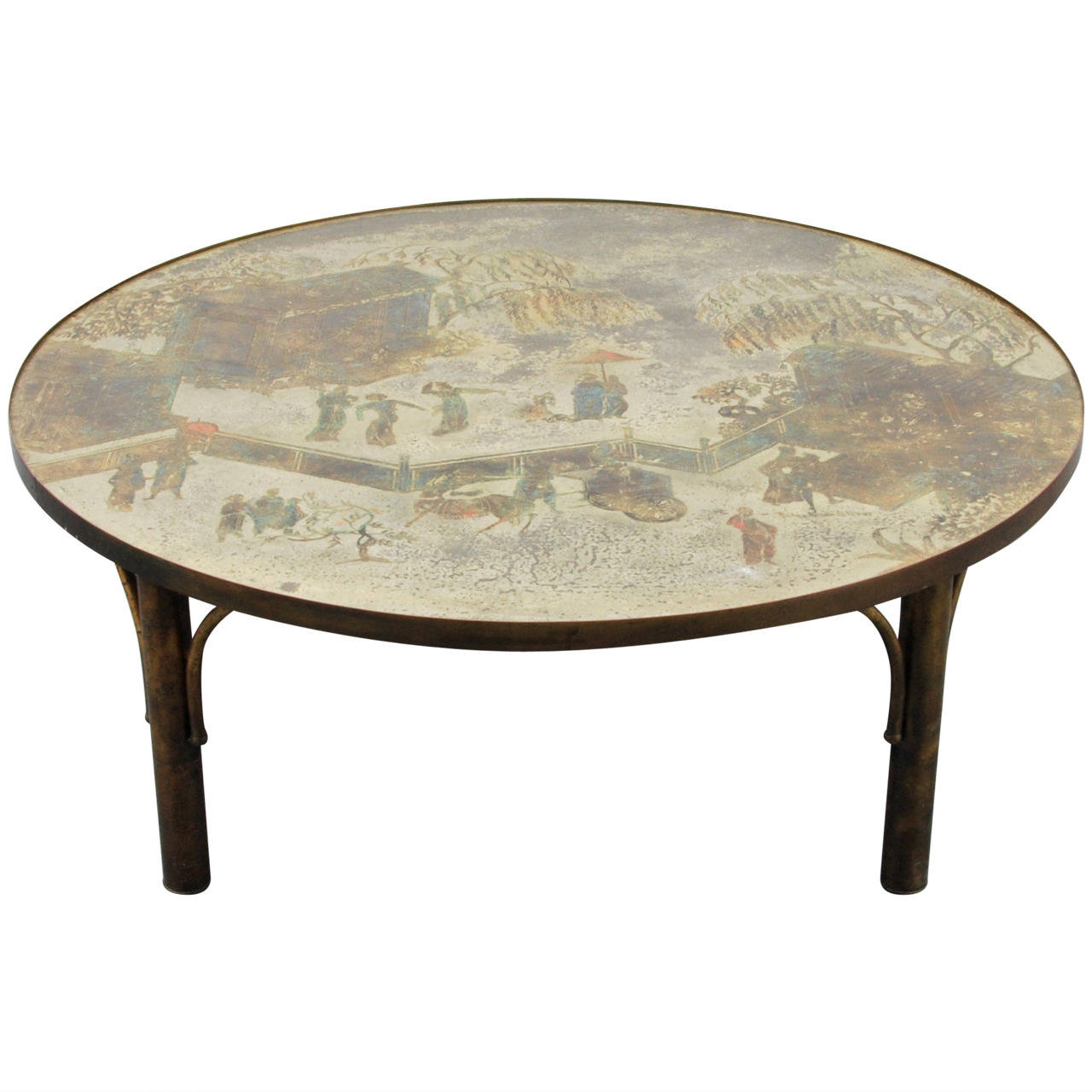 Large philip kelvin laverne coffee table on antique for Table 52 west palm beach