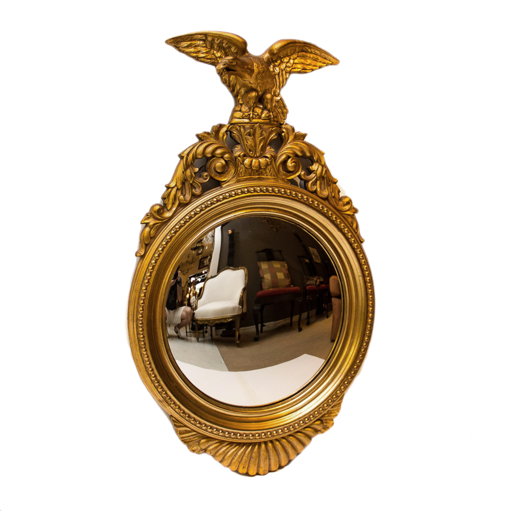 Vintage American Giltwood Convex Mirror On Antique Row
