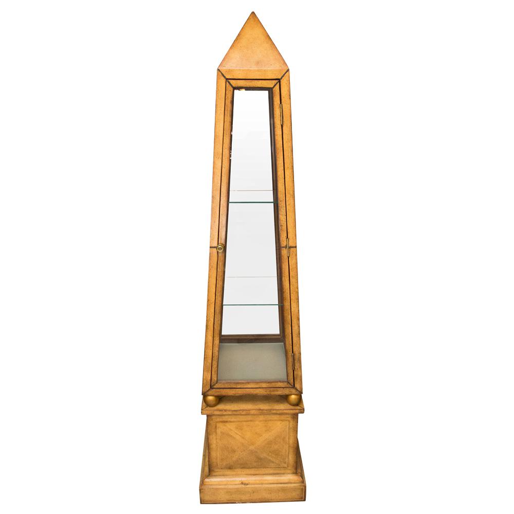 vintage obelisk leather covered vitrine cabinet on. Black Bedroom Furniture Sets. Home Design Ideas