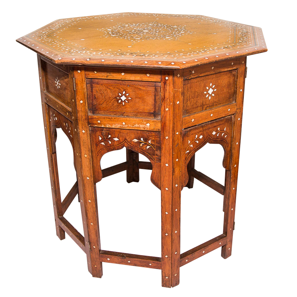 Octagonal side table with inlay on antique row west