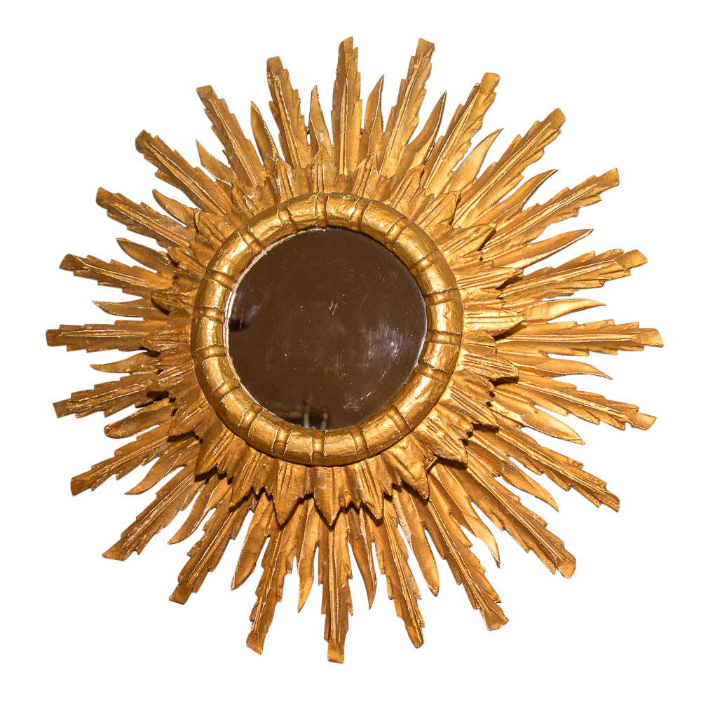Vintage French Giltwood Sunburst Mirror On Antique Row