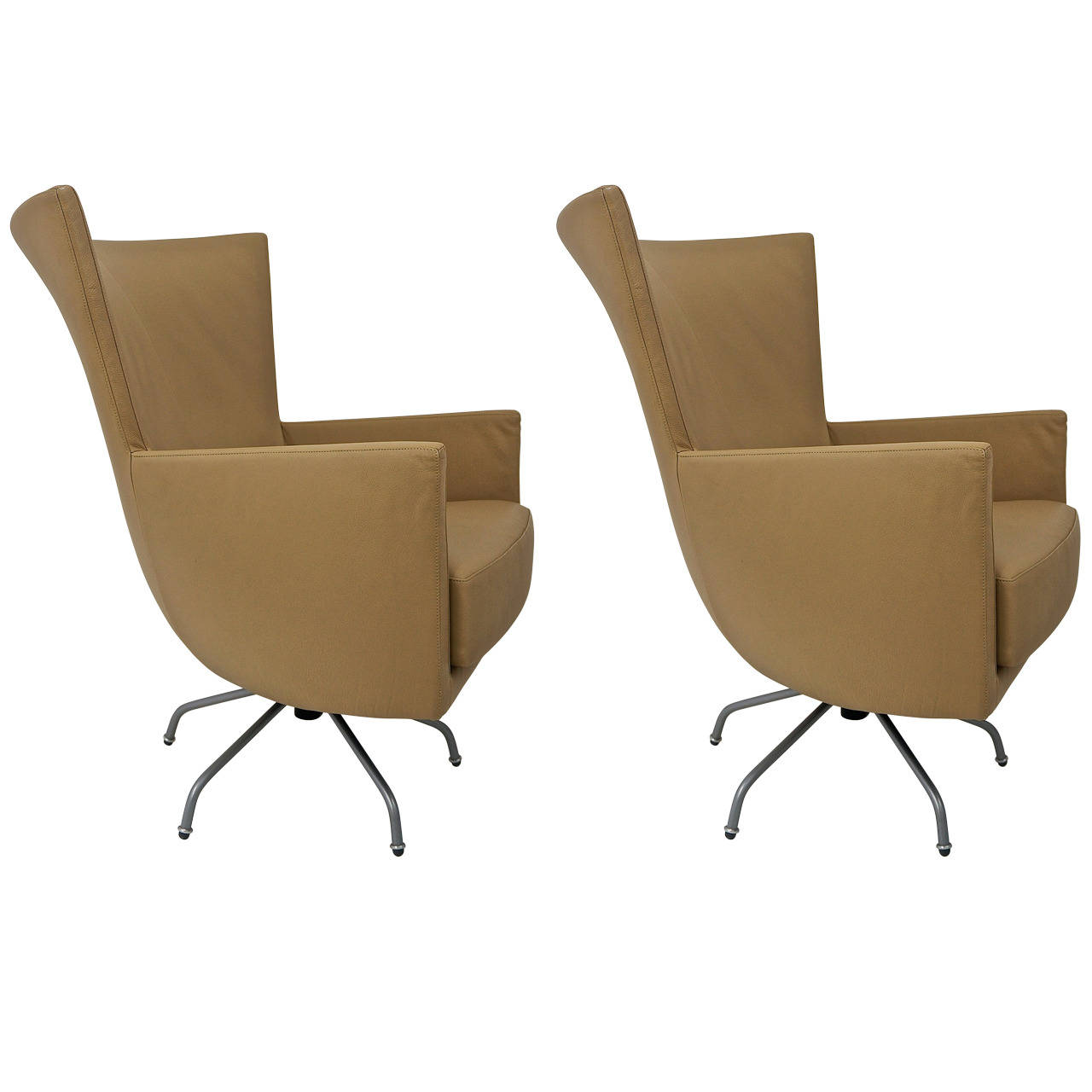 Pair Of Italian Leather Swivel Lounge Chairs On Antique