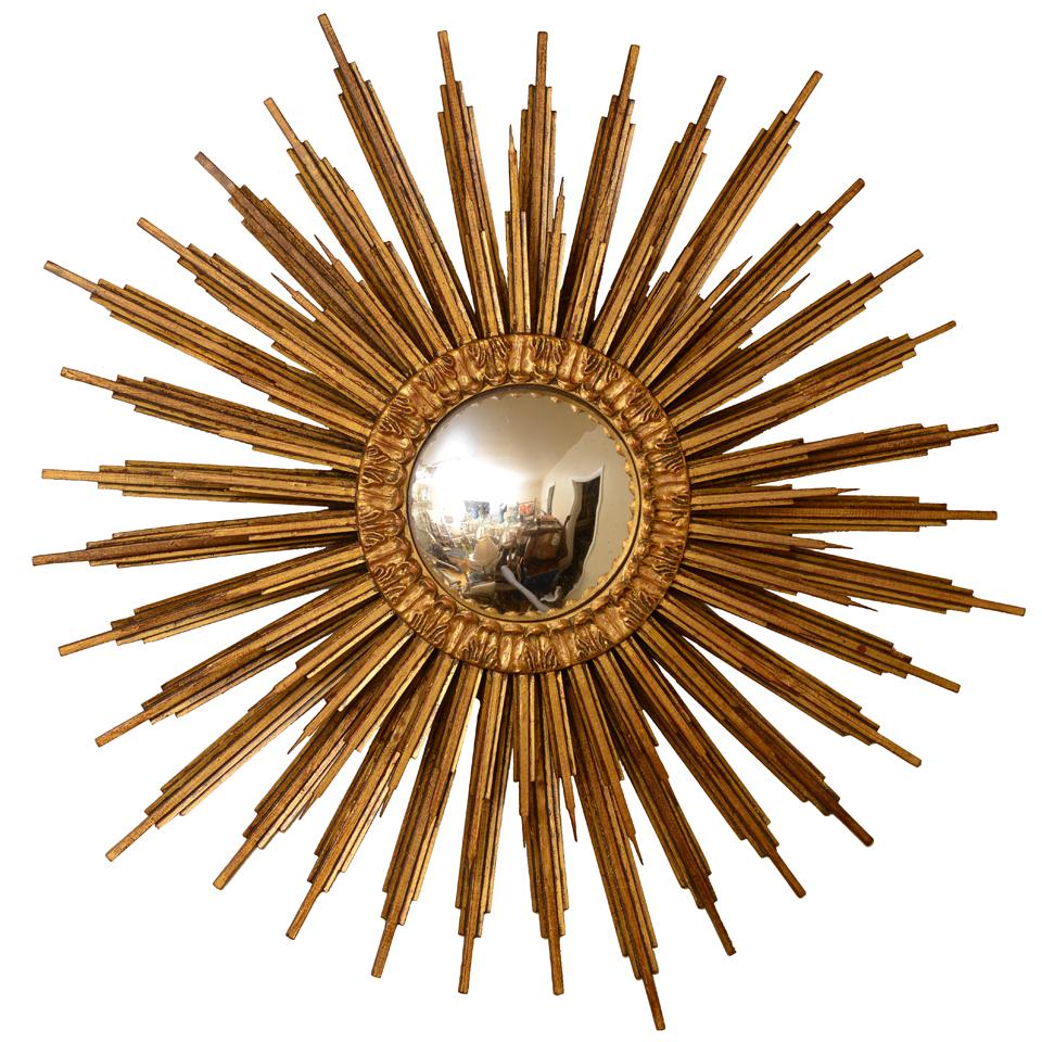 Spectacular Electrified Giltwood Convex Sunburst Mirror