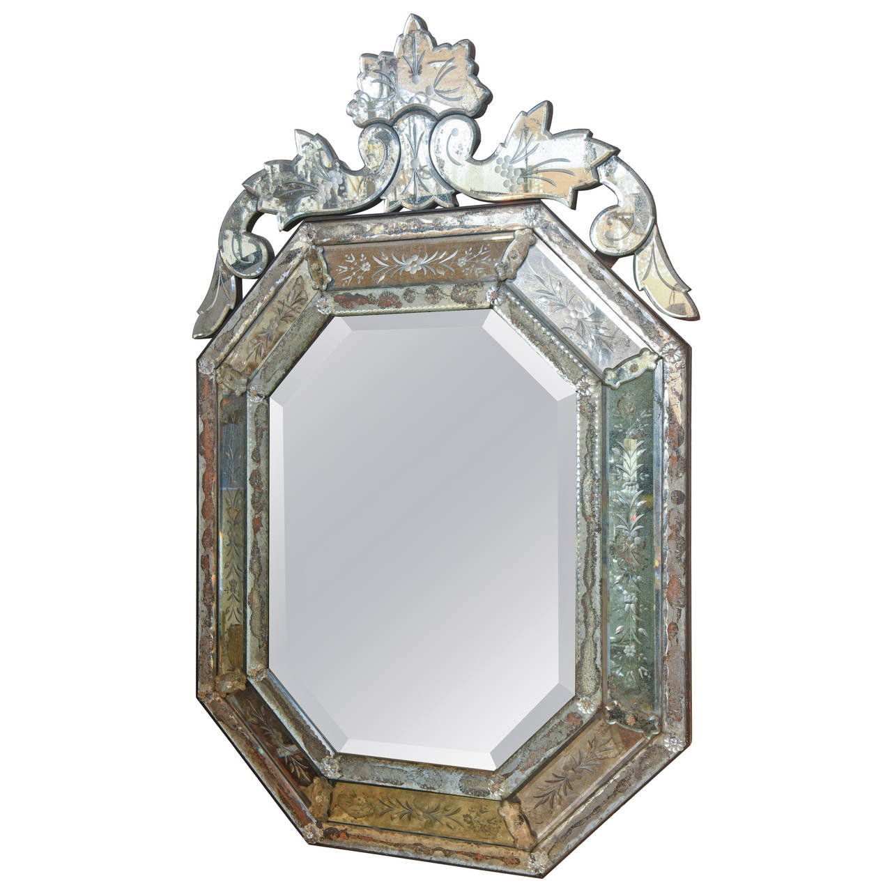 Octagonal Etched Venetian Mirror On Antique Row West