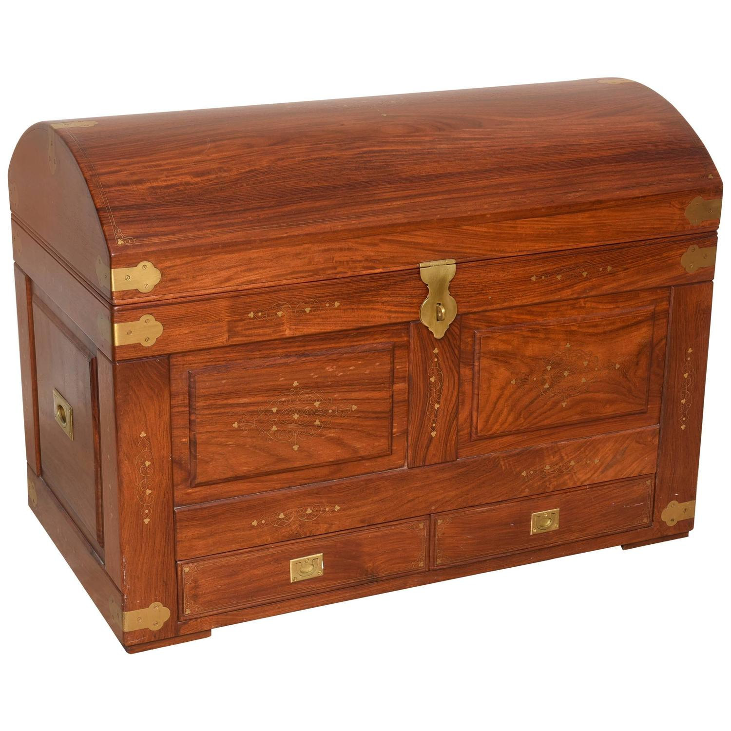 Anglo Indian Domed Camel Back Trunk In Teak Wood With Inset Brass And  Hardware
