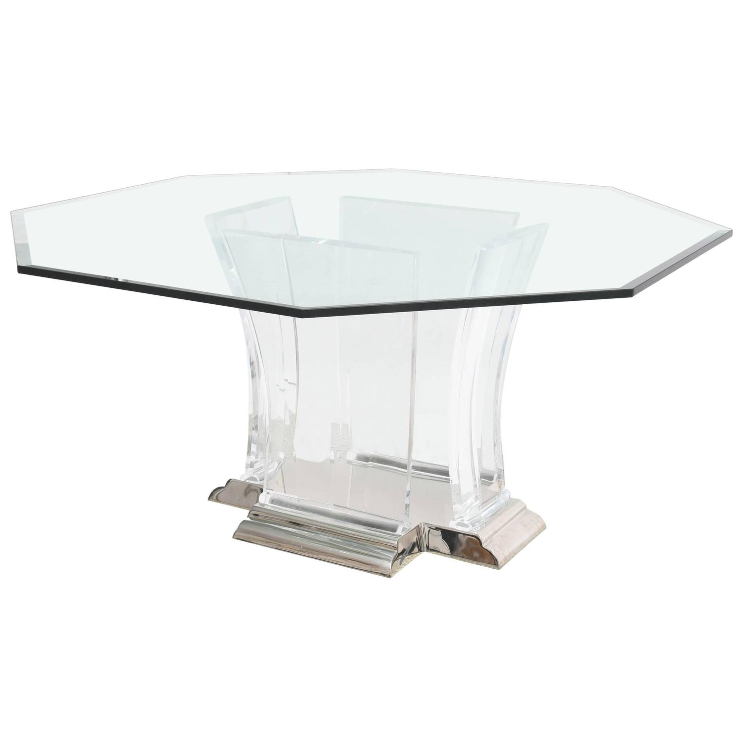 Lucite Dining Room Table: Octagonal Dining Table In Lucite, Glass And Polished
