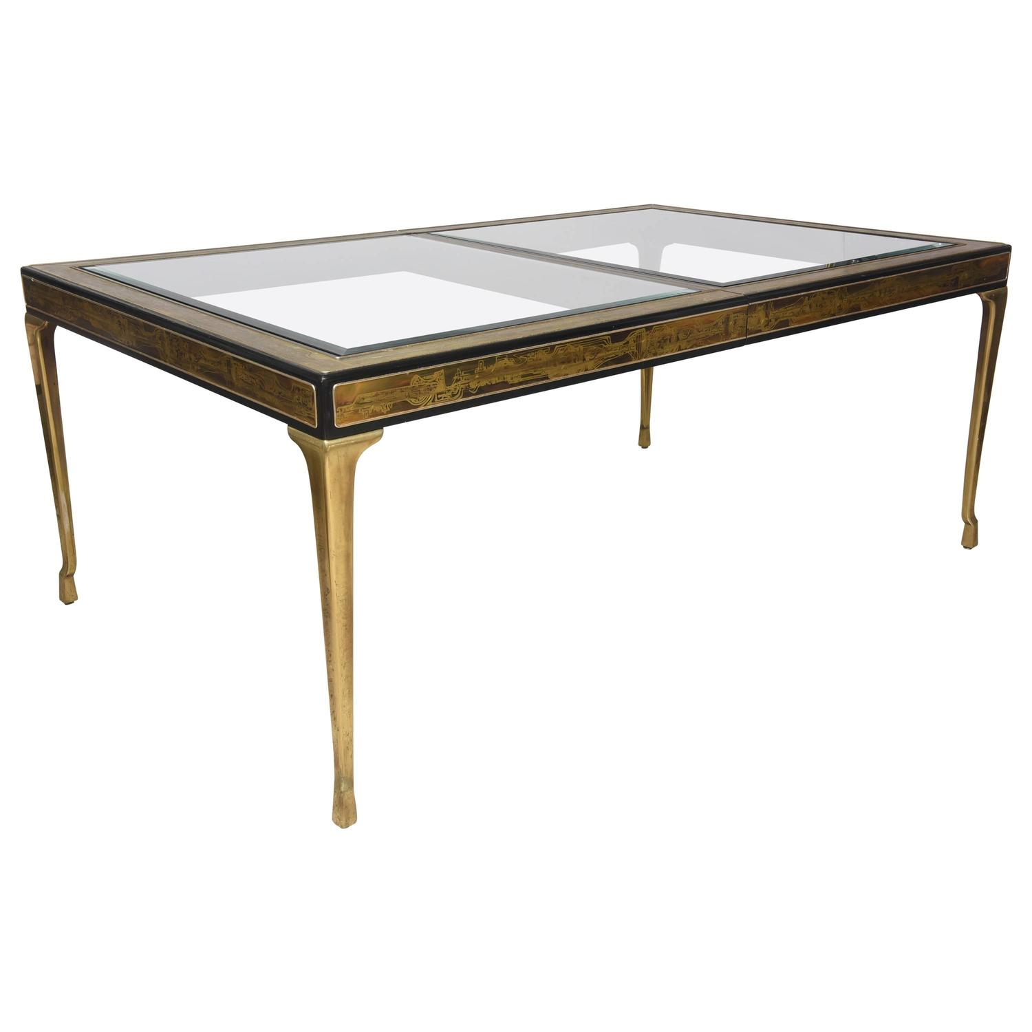 Rectangular dining table brass and glass by bernhard rohne for Rectangular glass dining table