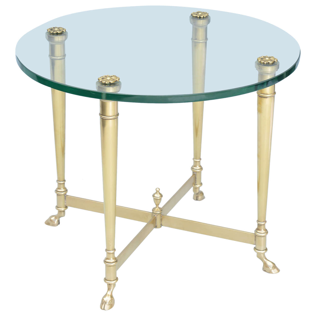 Polished brass end table with glass top on hoffed feet for Glass end tables