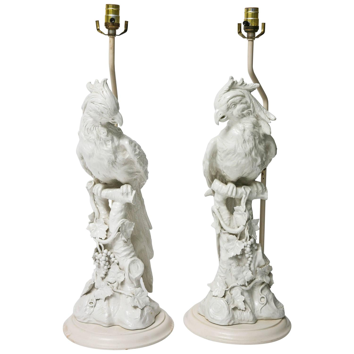Pair Of Large Scale Hollywood Regency Blanc De Chine