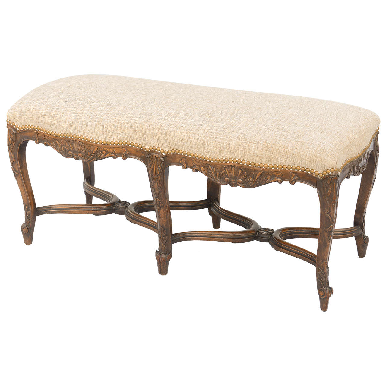 French Regence Style Walnut Bench On Antique Row West