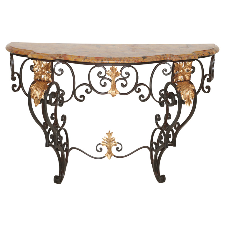 Iron Console Table : 19c French Iron Console Table : On Antique Row - West Palm Beach ...