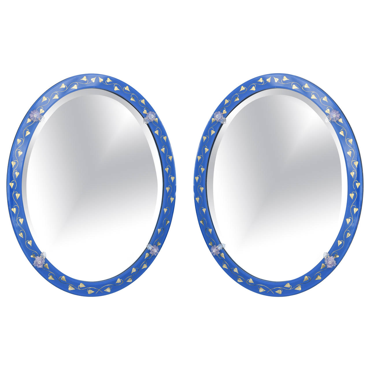 Pair Of Oval Venetian Mirrors With Lapis Blue Glass Frame