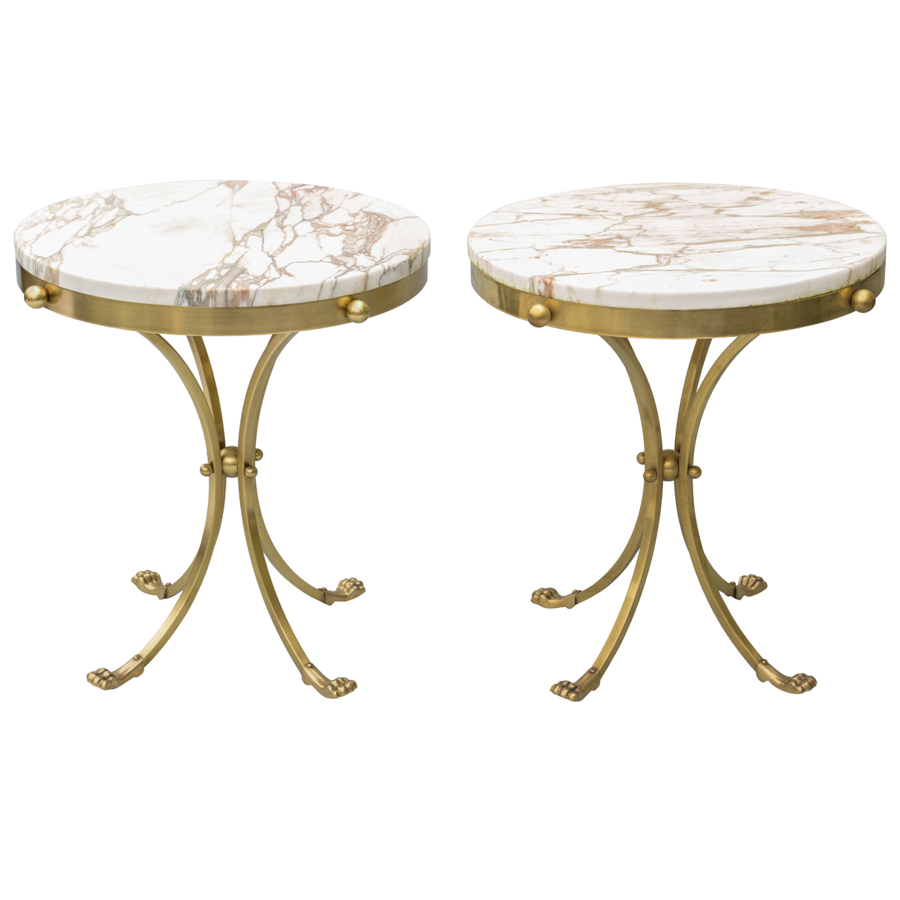 pair of mid century brass accent tables with marble tops. Black Bedroom Furniture Sets. Home Design Ideas
