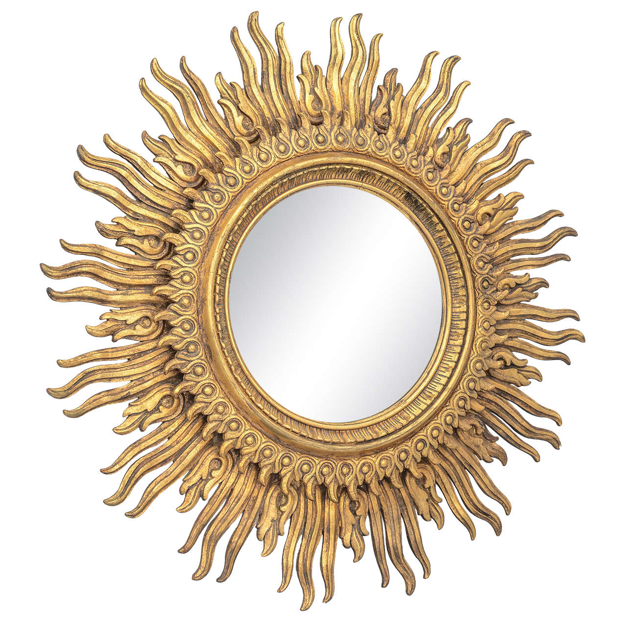 Oversized Carved Giltwood Sunburst Mirror On Antique Row