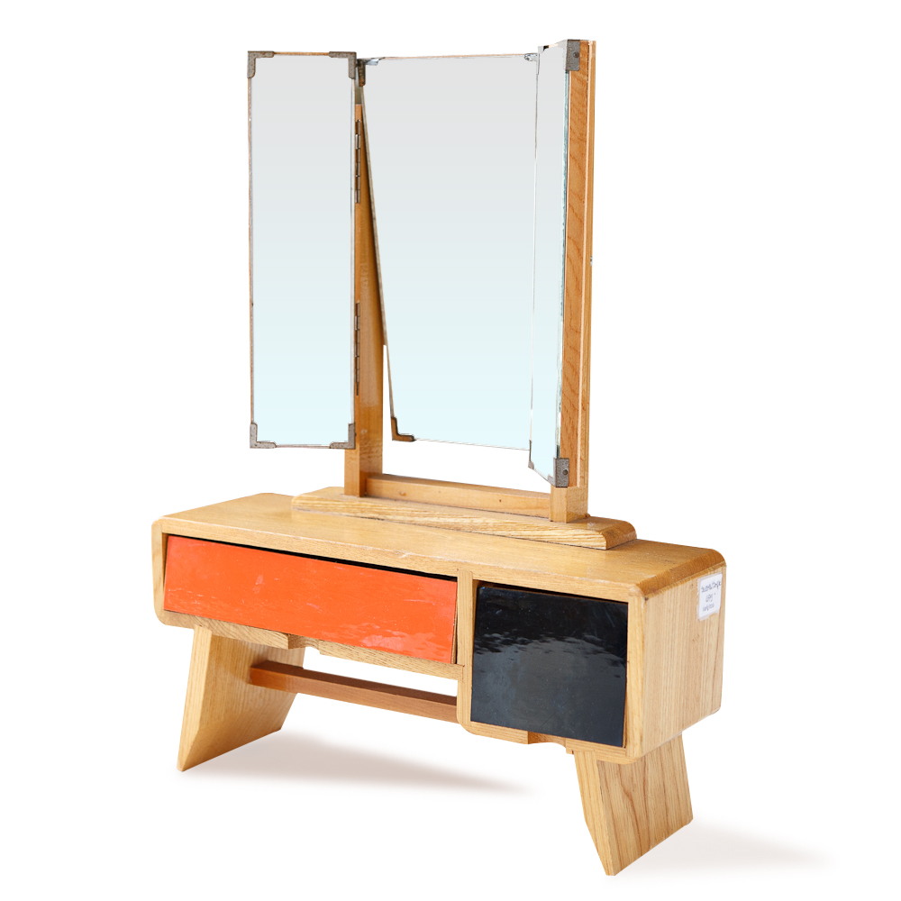Mid century salesman sample of a mirrored dressing table for Table dressing