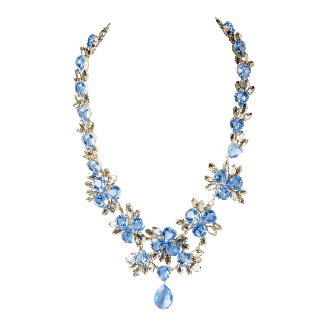 Christian Dior 1958 Blue Faceted Crystal Necklace On