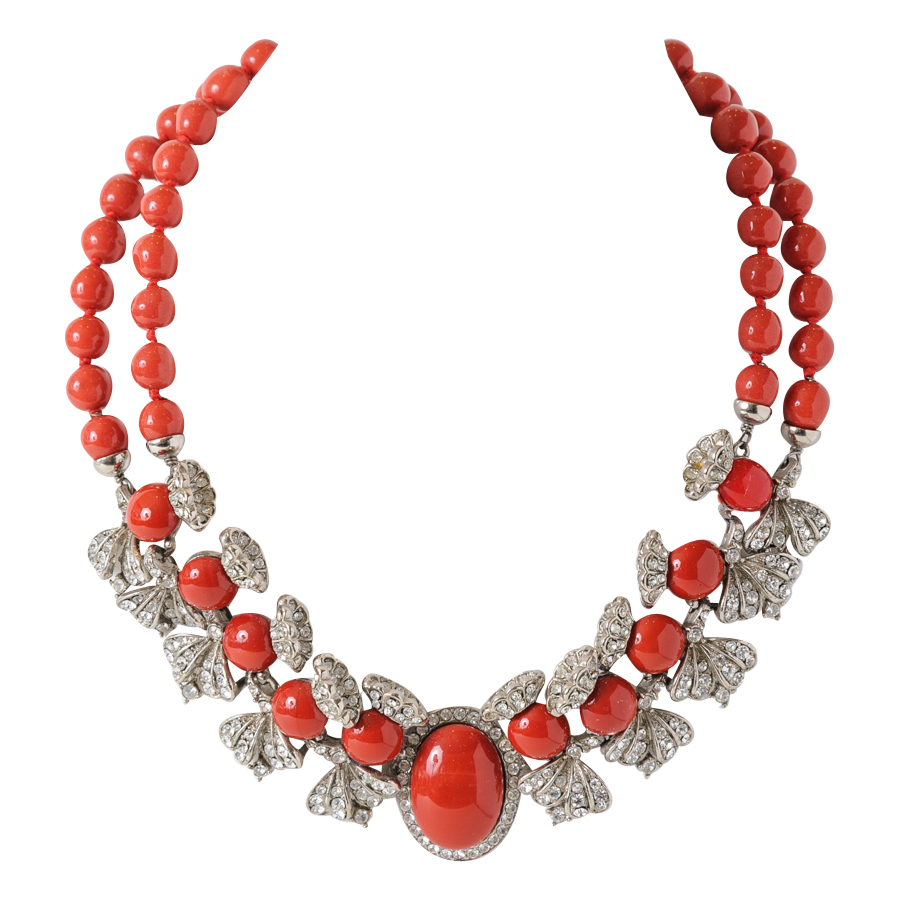 Coral Colored Glass And Rhinestone Necklace : On Antique