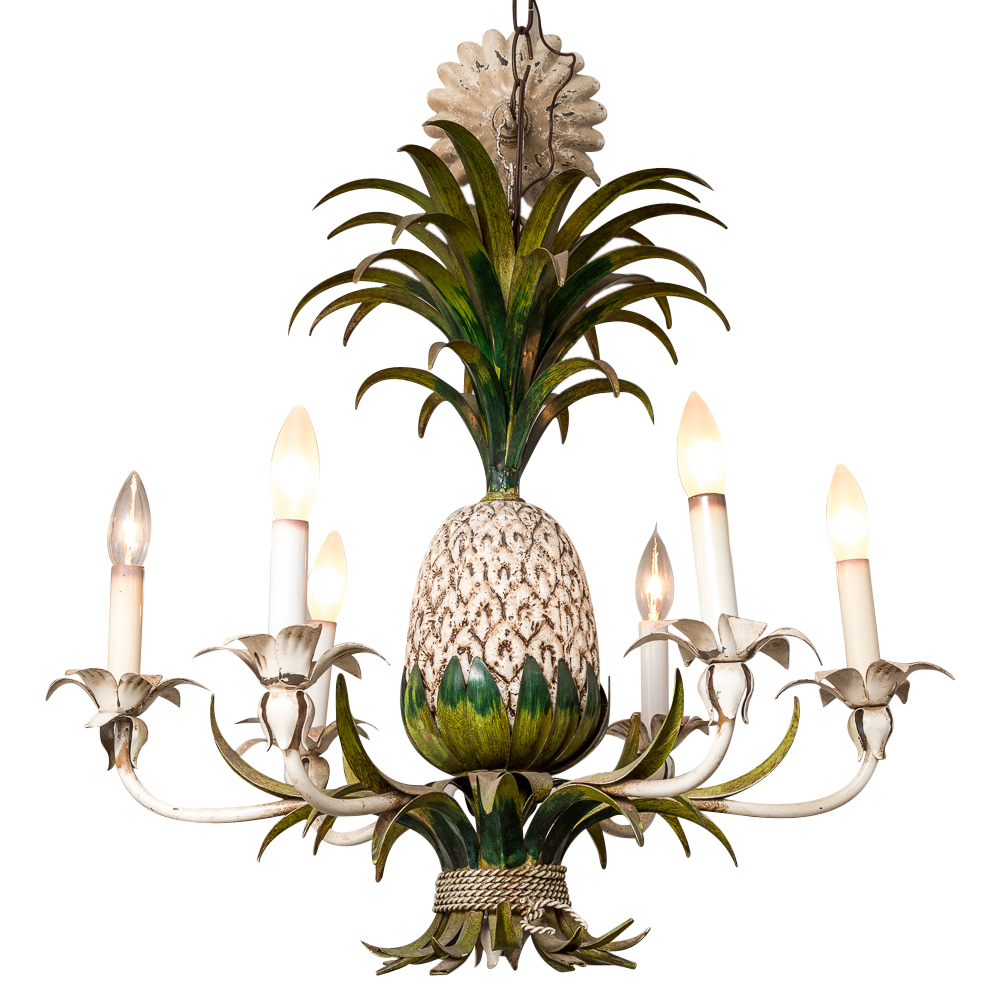 Italian Painted Metal Vintage Pineapple Chandelier On
