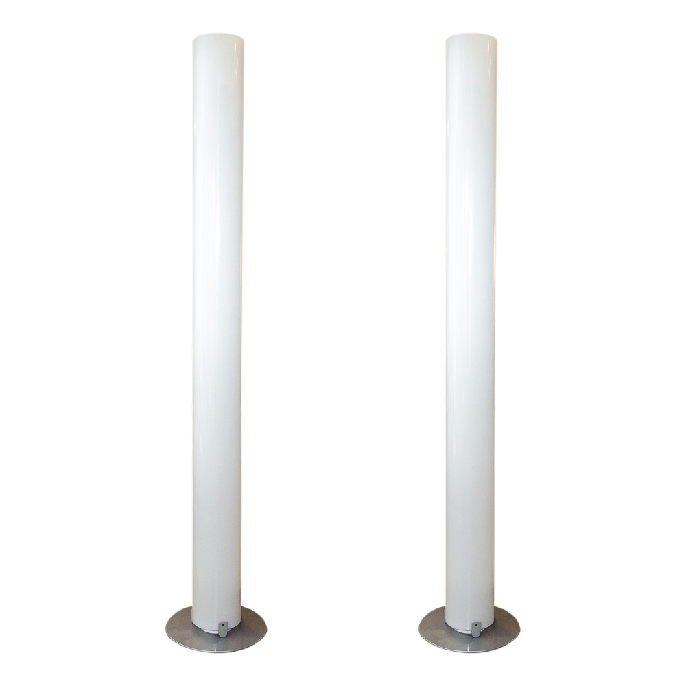 Fantastic Modern Pair Of Plexi Glass Cylinder Floor Lamps