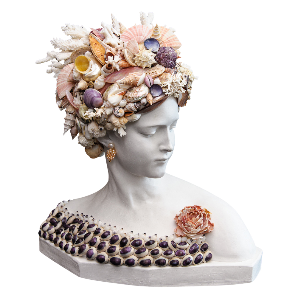 Graceful Shell Bust With Coral Headpiece On Antique Row