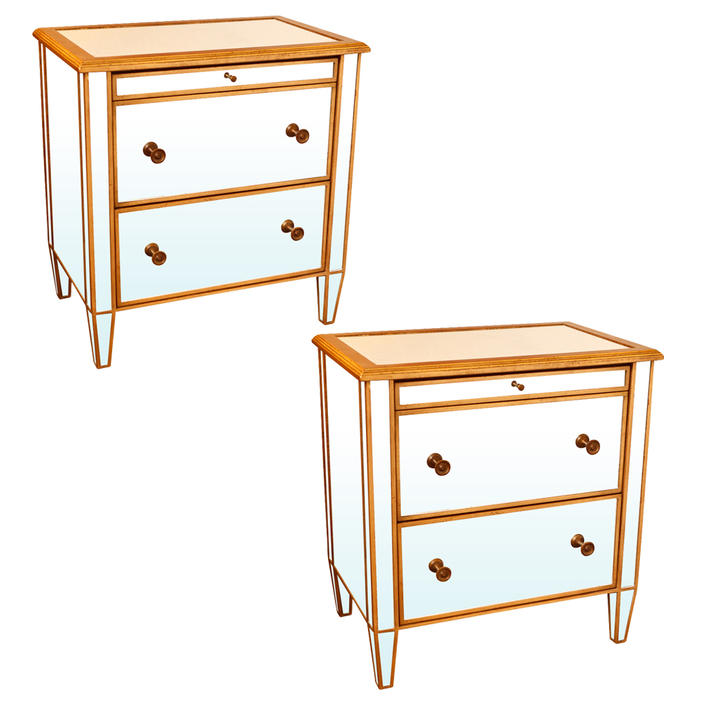 pair of mirrored glass chests of drawers with gilt rim on antique row west palm beach florida. Black Bedroom Furniture Sets. Home Design Ideas