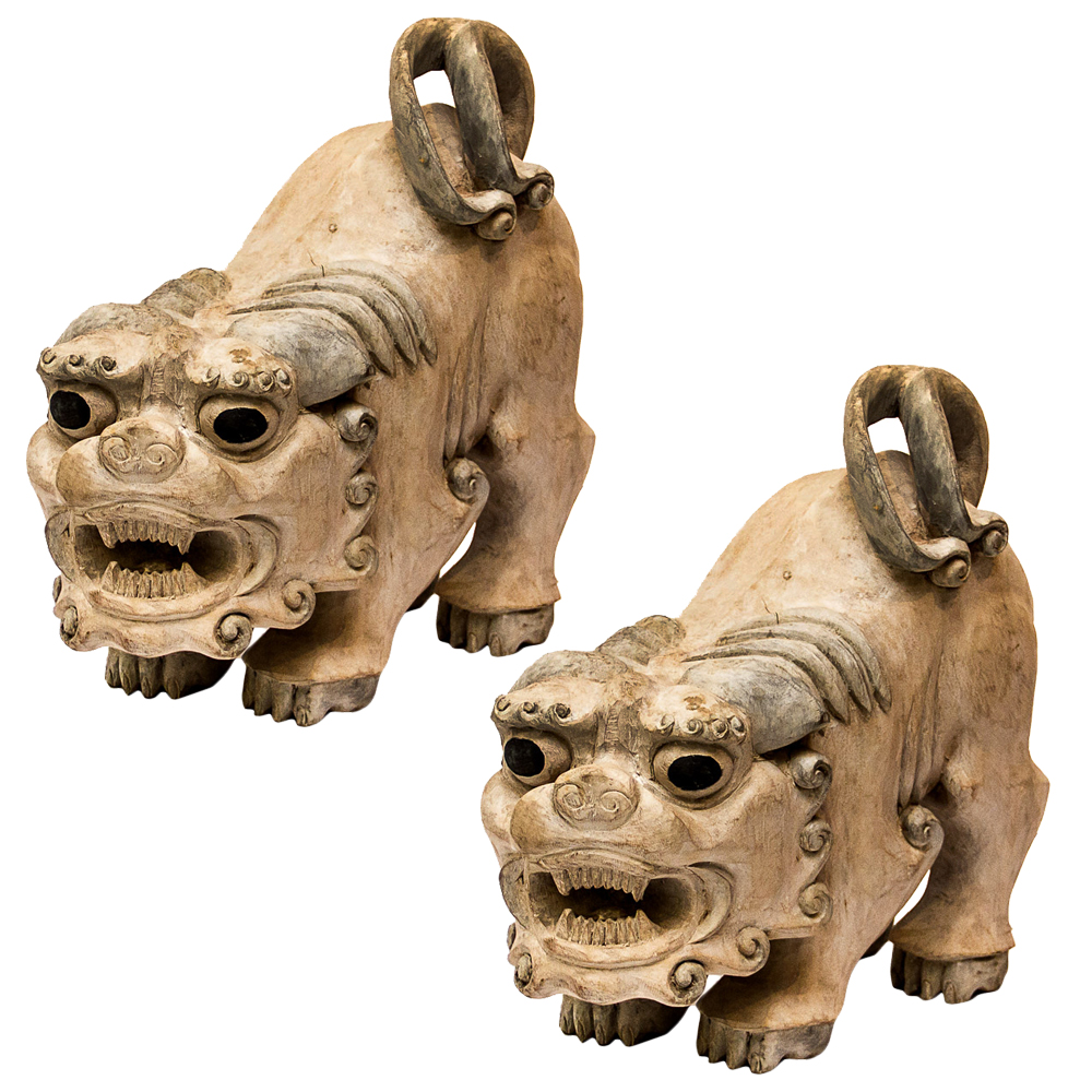 Pair Of Antique Wooden Foo Dogs On Antique Row West