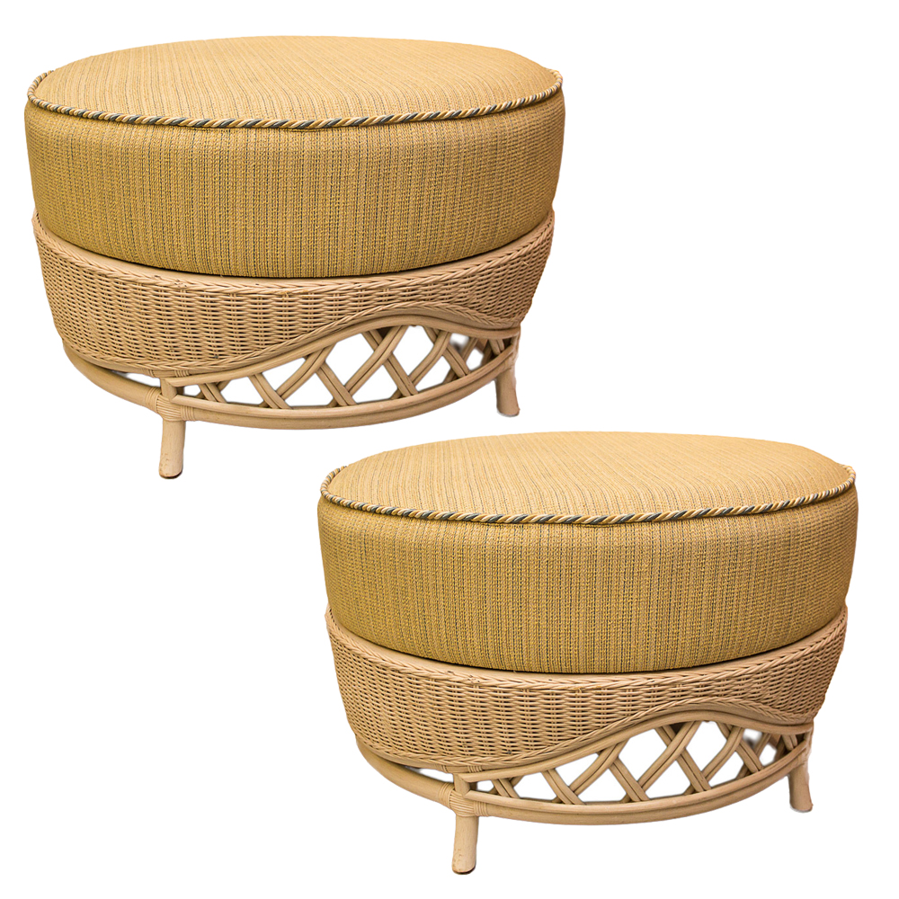 Pair Of Vintage Large Rattan Round Ottomans On Antique