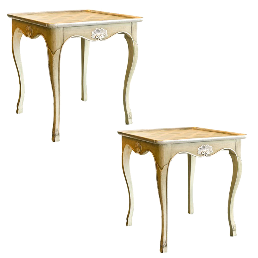 Pair of louis xv style baker painted and silver gilt side - Table de chevet louis xv ...