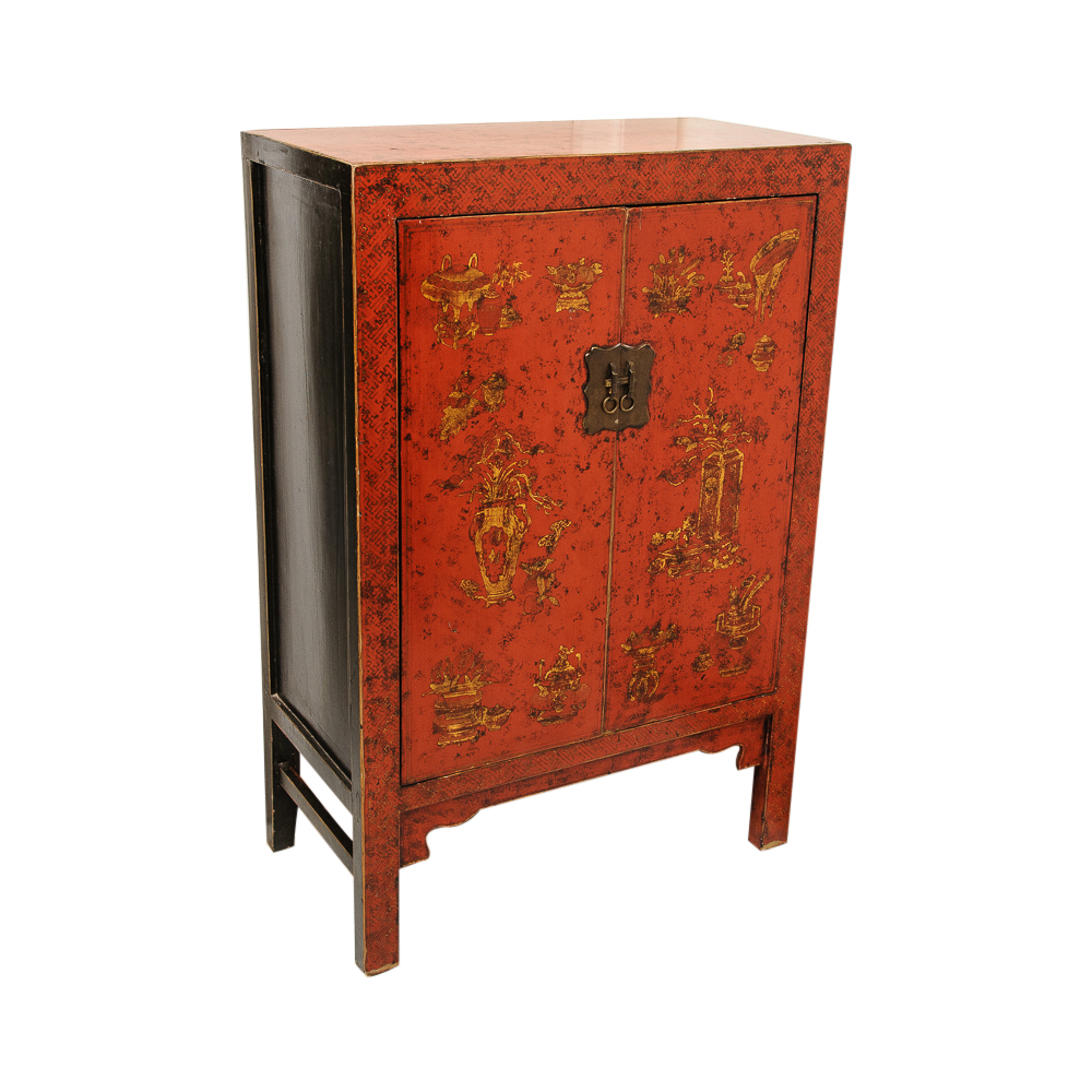 Antique Red Lacquer Chinese Two Door Cabinet On Antique Row West Palm Beach Florida