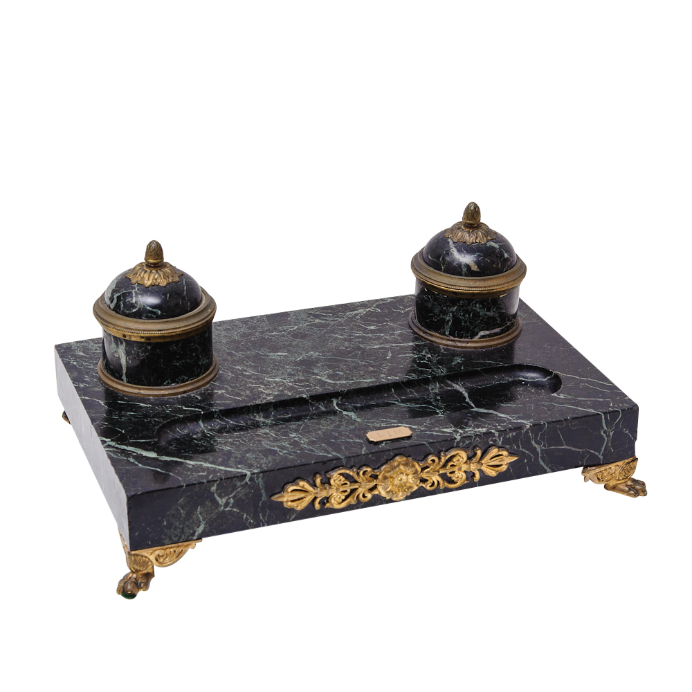 antique empire style marble and bronze double inkwell on. Black Bedroom Furniture Sets. Home Design Ideas