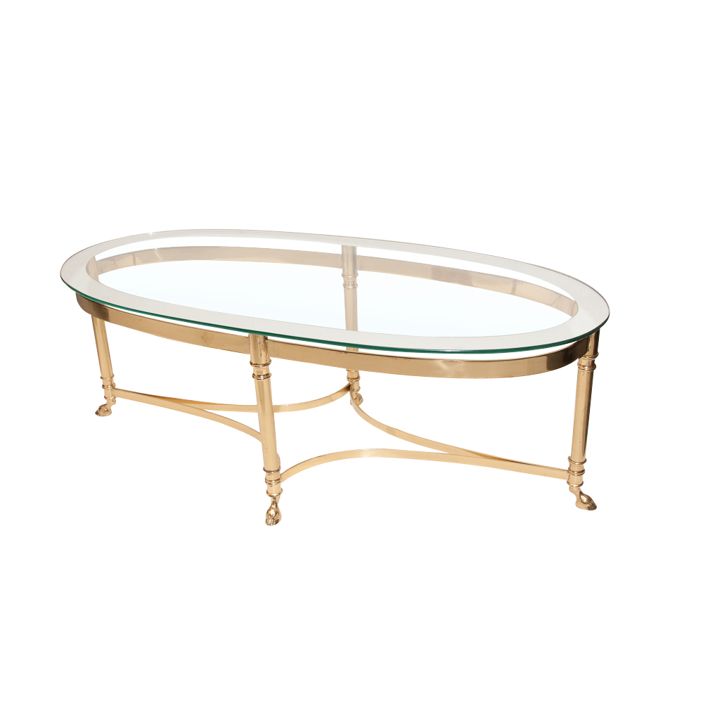 Mid century brass base glass top coffee table attributed to bagues on antique row west Antique brass coffee table