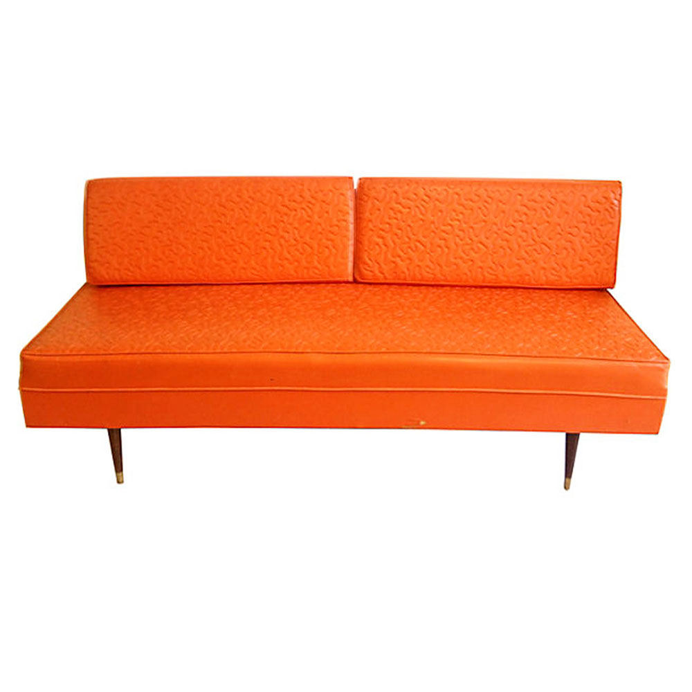Vintage Leather Sofa Tangerine Oragne Day Bed On Antique Row West Palm Beach Florida