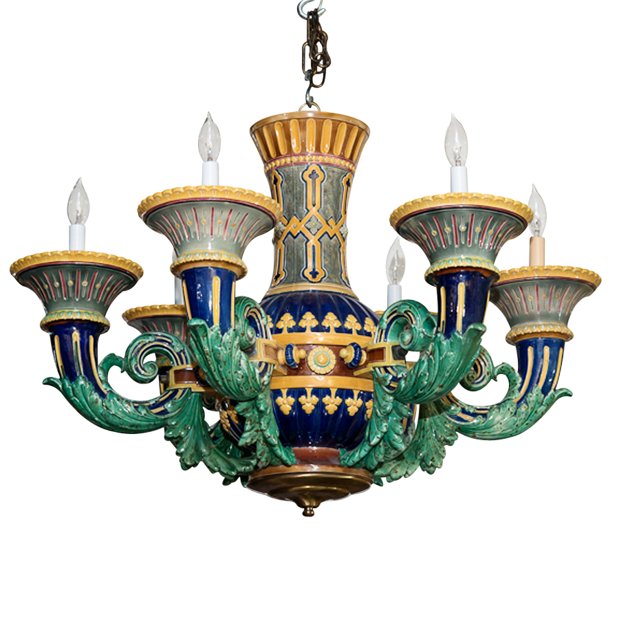 Rare six light majolica chandelier on antique row west palm rare six light majolica chandelier aloadofball Gallery