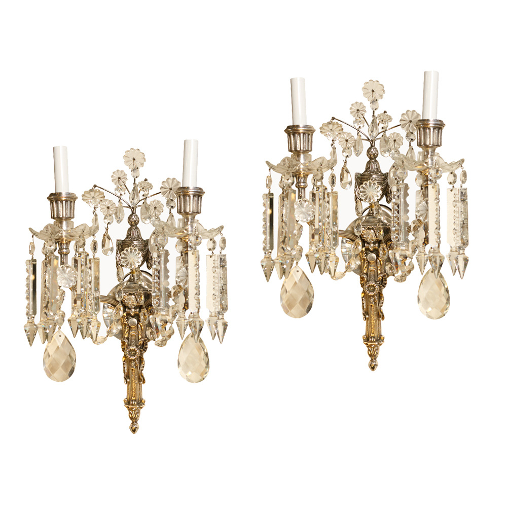 Vintage Crystal Wall Sconces : Pair of French Antique Crystal Sconces : On Antique Row - West Palm Beach - Florida