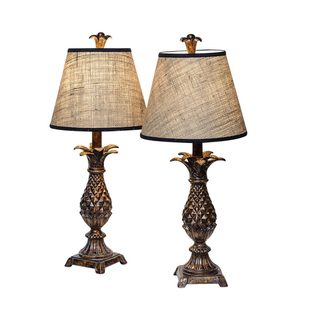 Pair Of Vintage Pineapple Lamps With Shades On Antique