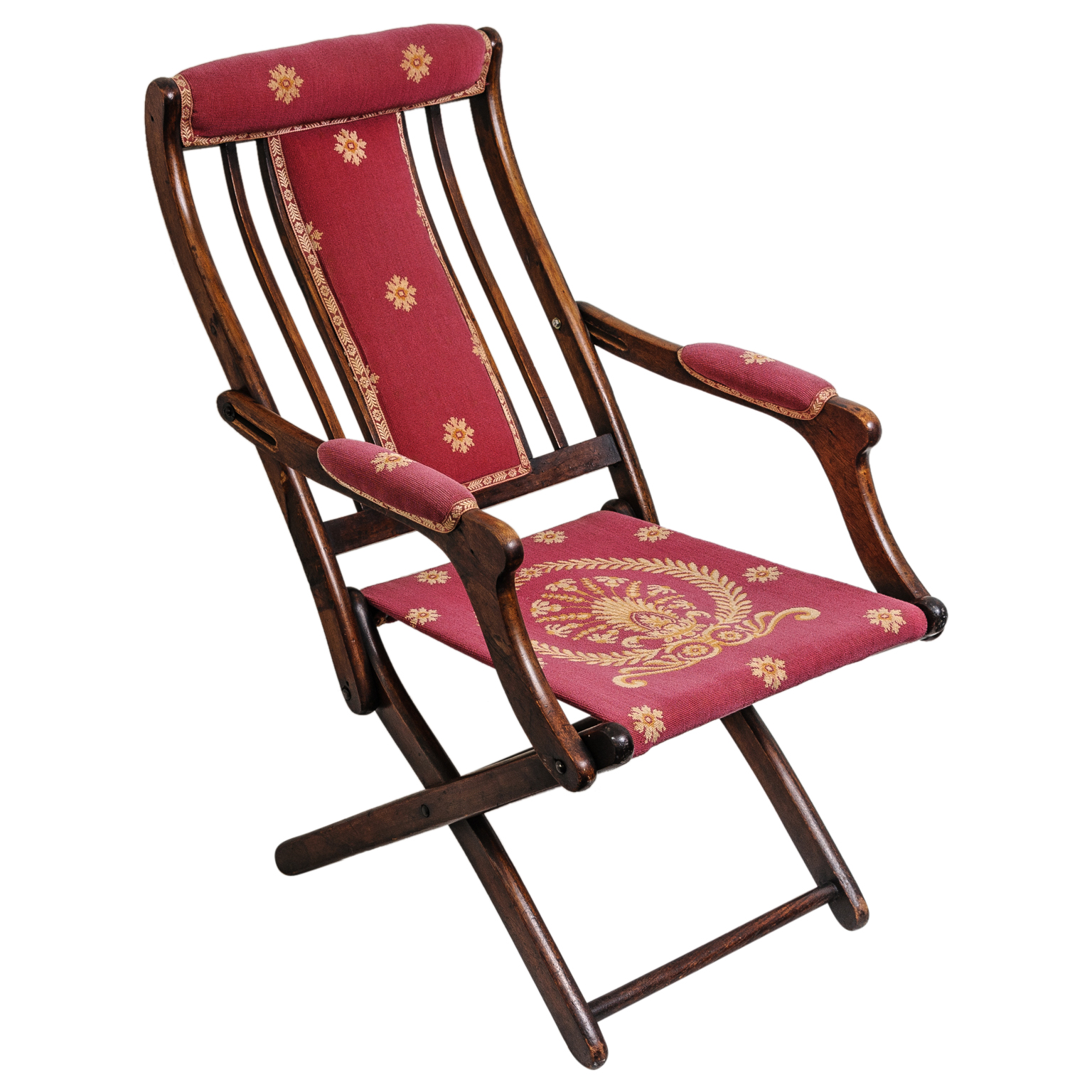 19th Century French Napoleonic Campaign Style Folding Chair On Antique Ro