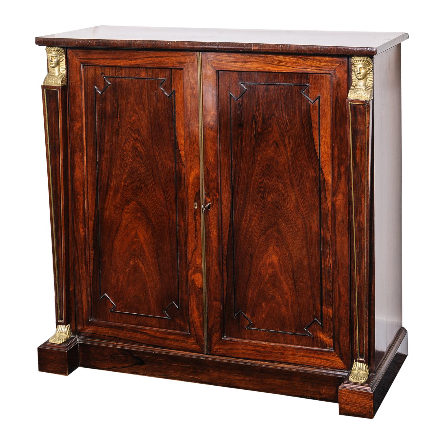 19th Century English Regency, Two-Door Cabinet, Rosewood
