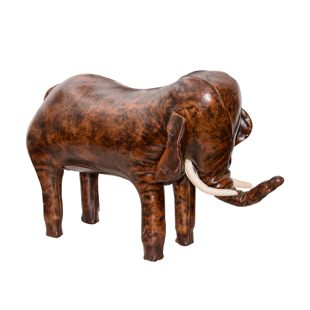 Leather Elephant Footstool On Antique Row West Palm