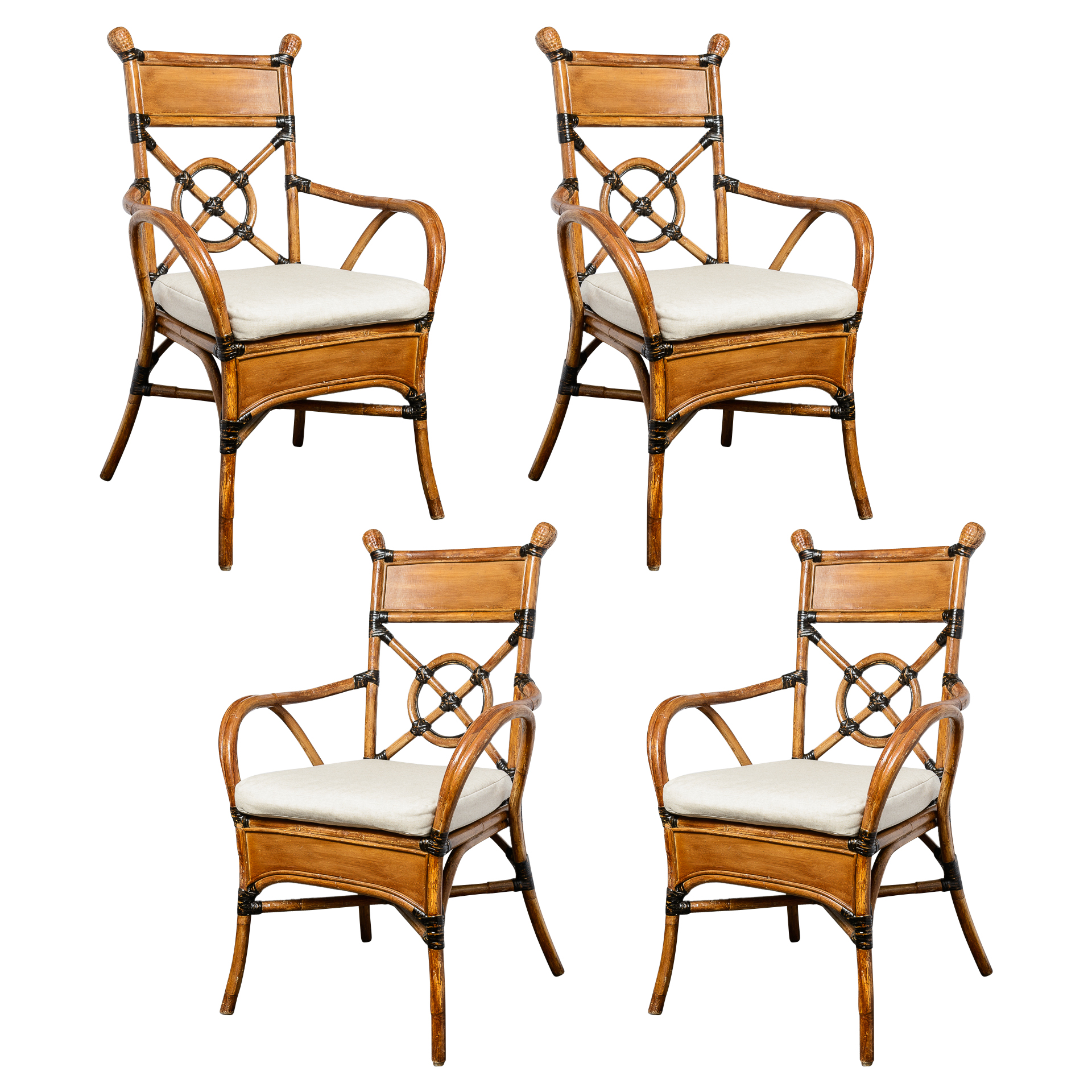 French Bamboo Rattan Set Of Four Chairs C 1950 On