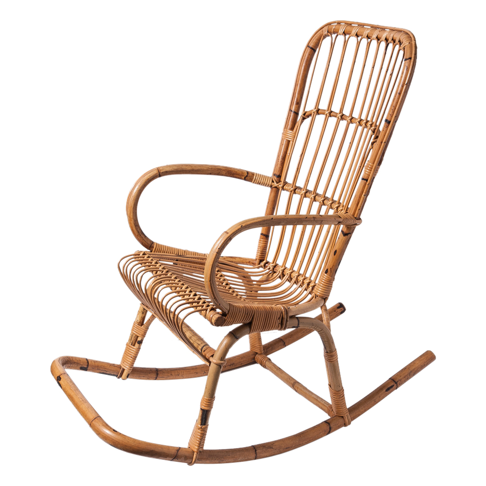 Franco Albini Style Rattan Rocking Chair On Antique Row