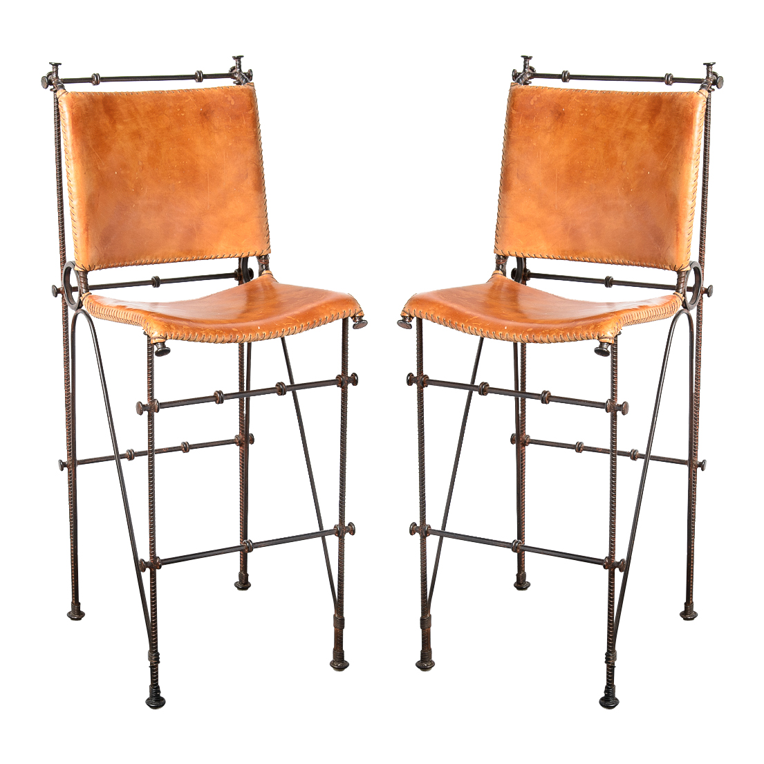 Pair Of Bar Stools In Leather U0026 Barbed Wire From Arte De Mexico
