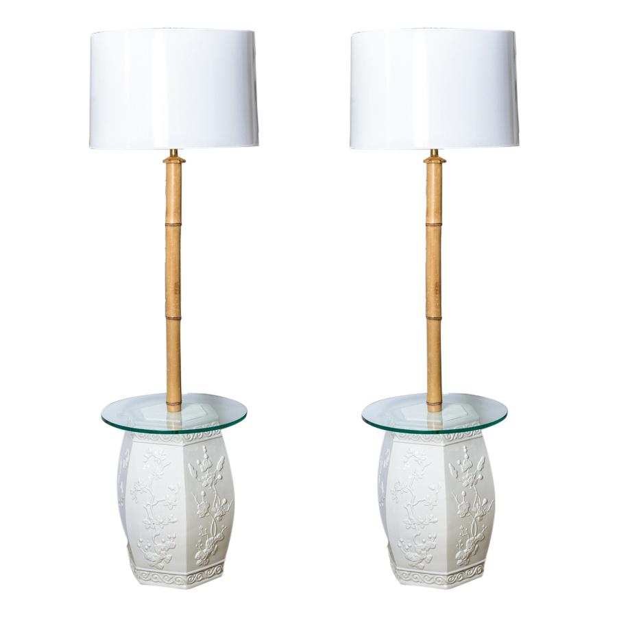 Stupendous Rare White Garden Stool Bamboo Floor Lamps Custom Made A Ncnpc Chair Design For Home Ncnpcorg