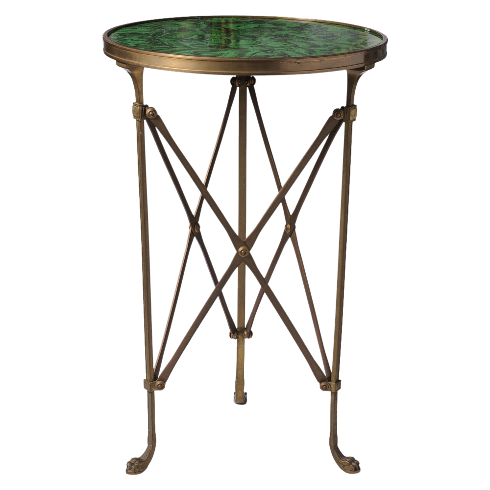 Neoclassical faux malachite brass campaign martini table for Table 52 west palm beach