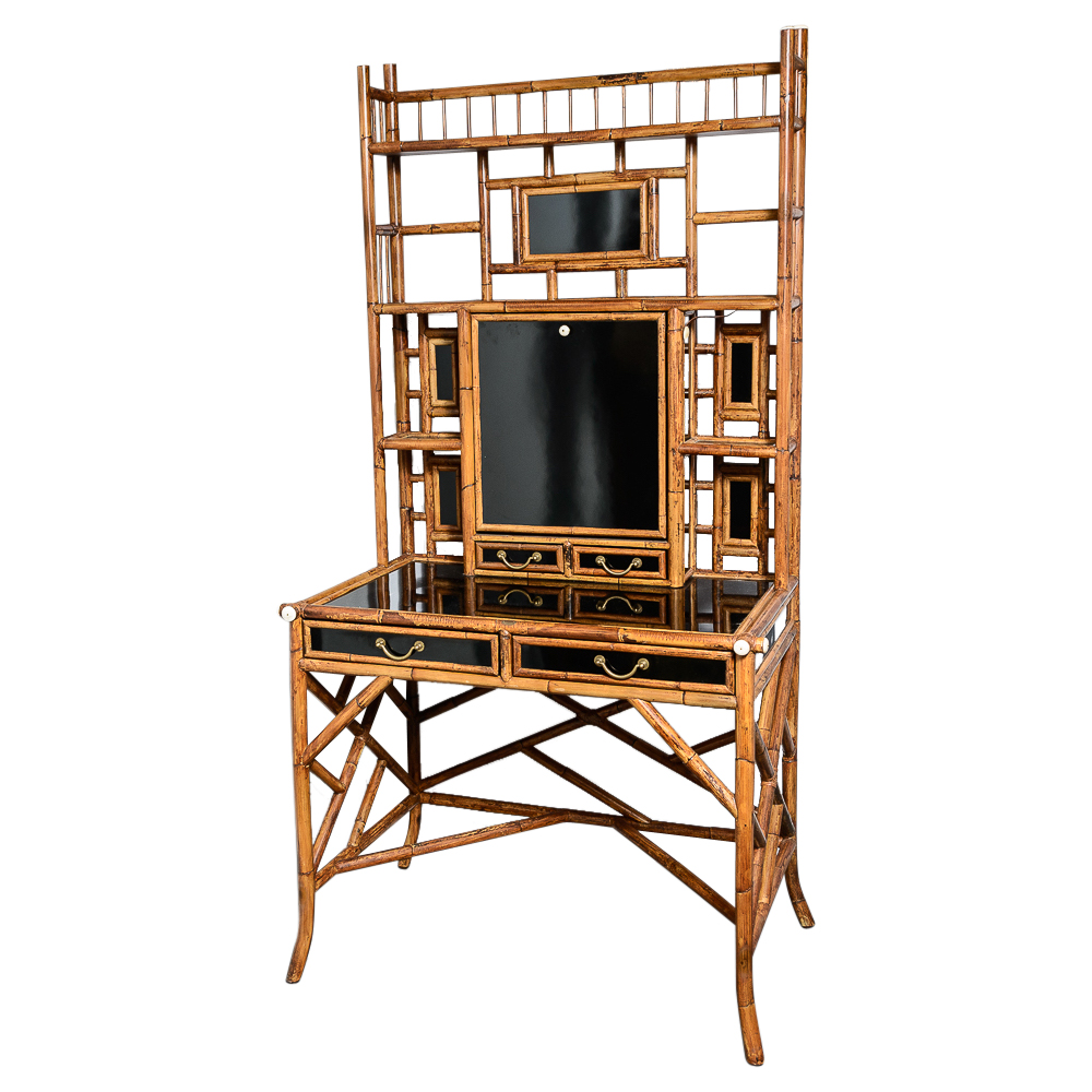 Astounding Bamboo Black Lacquer Secretary Desk With Writing Slope Download Free Architecture Designs Rallybritishbridgeorg