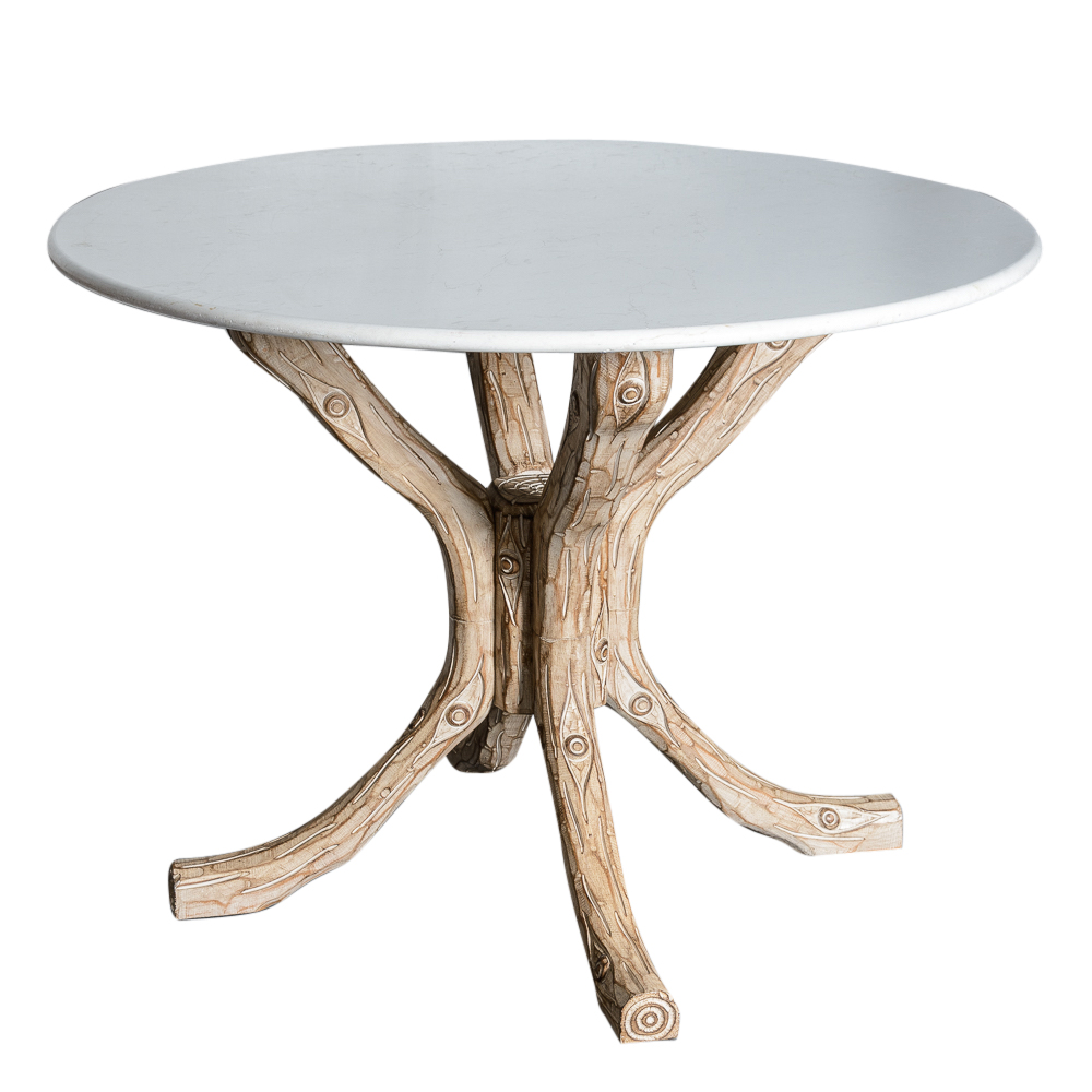 Faux Bois Wood Table Base Round Marble Top On Antique Row West