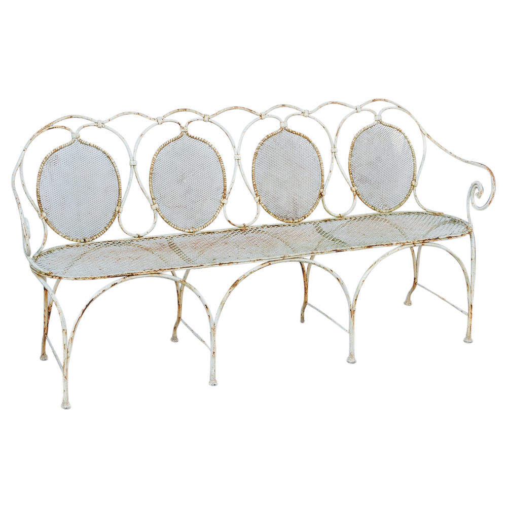Fantastic Antique French Painted Wrought Iron Garden Bench On Pdpeps Interior Chair Design Pdpepsorg