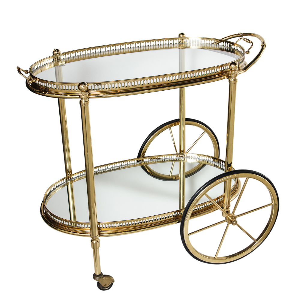 vintage french brass gallery bar cart on antique row. Black Bedroom Furniture Sets. Home Design Ideas