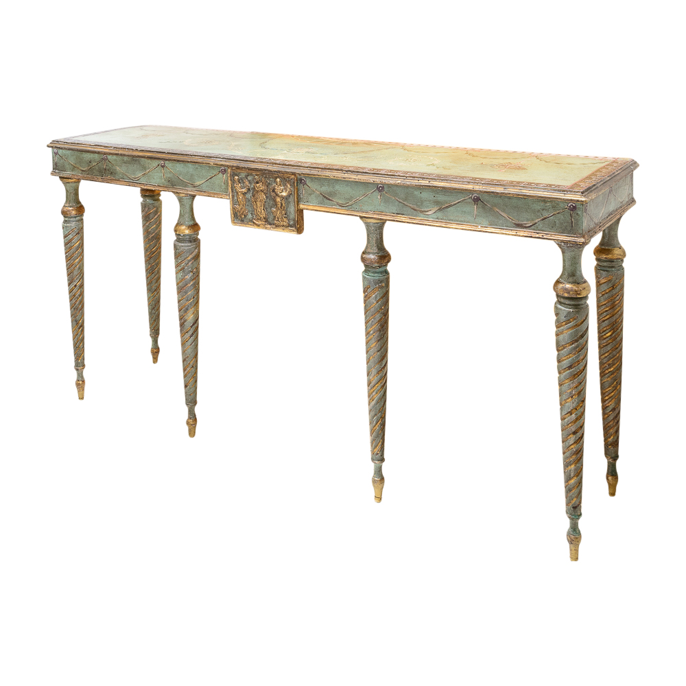 Painted console table on antique row west palm beach for Table 52 west palm beach