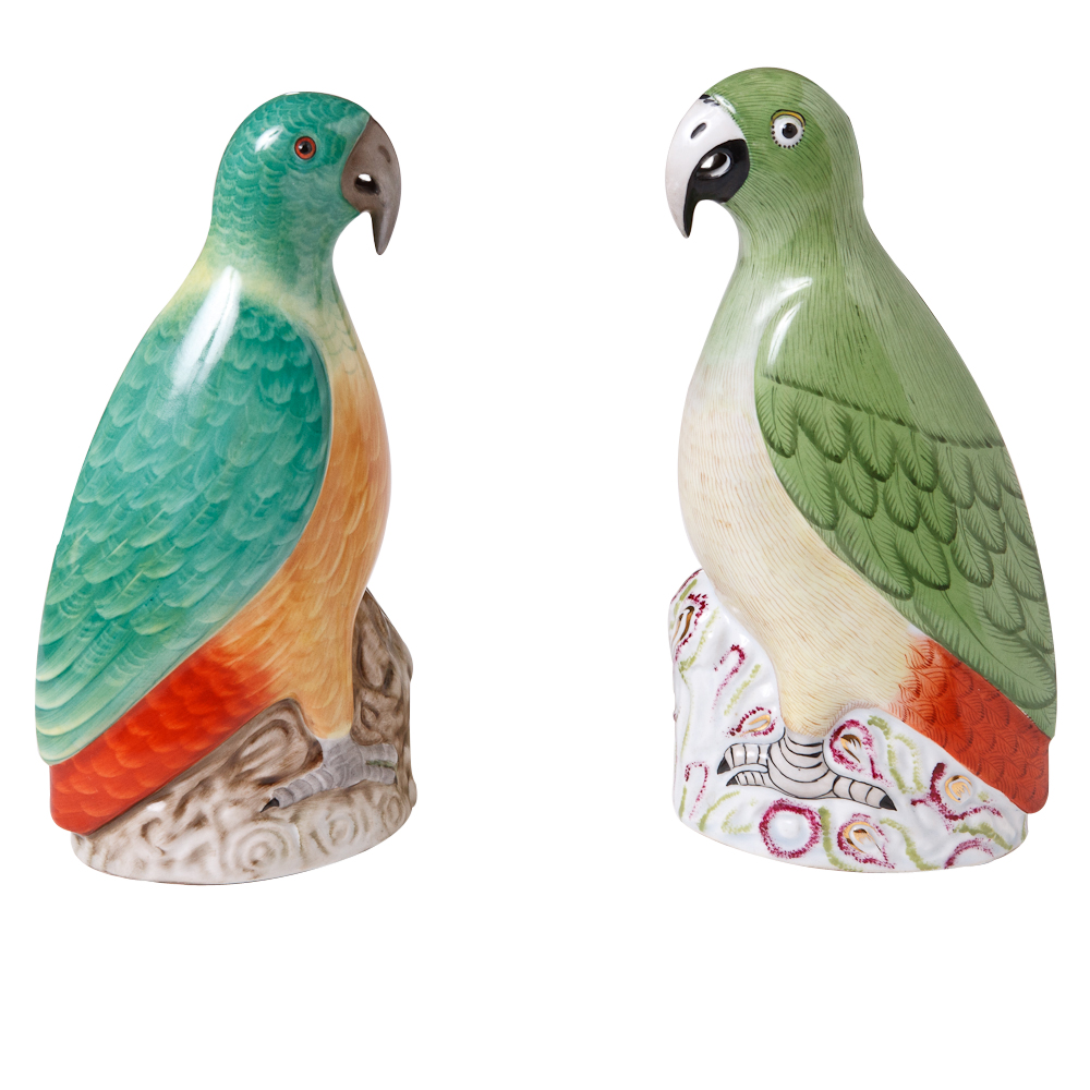 Pair Of Herend Porcelain Parrots Hungary Circa 1950 S